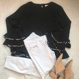 Grey Lab Bell Sleeve Pearl Blouse
